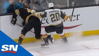 Charlie McAvoy Crashes Awkwardly Into Boards After Collision With Chandler Stephenson