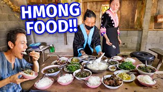 Ultimate HMONG HILL TRIBE FOOD!! Green Taro Stems + Roasted Duck at Shaman's House!!