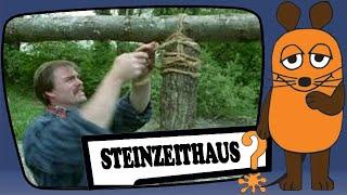 Steinzeithaus - Holzsuche, Bauplatz, Tragegerüst