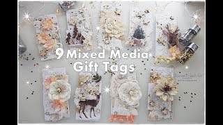 9 Mixed Media Winter Christmas Gift Tags ♡ Maremis Small Art ♡