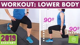 20 Minute Lower Body Burn Home Workout - No Equipment Legs, Booty & Abs! #kickstart2019