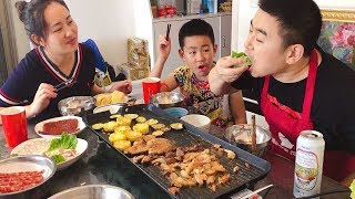 Family buffet barbecue, steak, squid, grilled pork belly, beer with barbecue, enjoyable