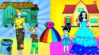 Paper Dolls Dress Up - Rainbow Skirt Birthday Dresses Handmade Quiet Book - Barbie Story & Crafts