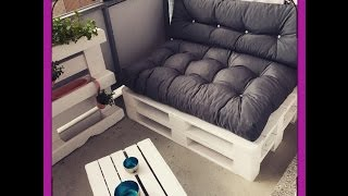 DIY Sofa Paletten Sofa Balkon Möbel selber bauen