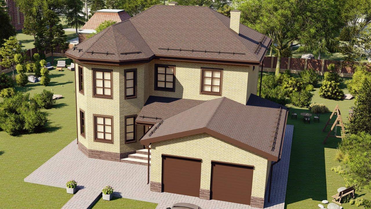 Проект большого двухэтажного дома из газобетона с гаражом на 2 авто