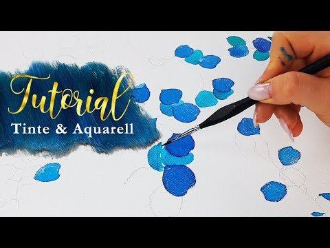 Mal Tutoral: Mit Tinte und Aquarell einfache Eukalyptus Zweige malen