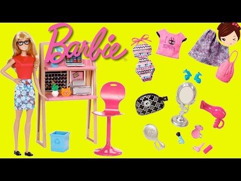 Muñeca Barbie con Escritorio y  Habitacion  de Anabella + Uniformes Ropa Y Accesorios de Moda