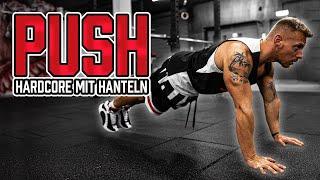 HARDCORE Push Day mit Hanteln (Brust Trizeps Home Workout mit Gewichten zum Mitmachen   30 Minuten)
