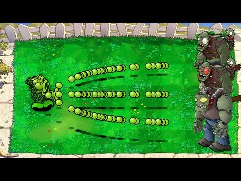 Plants vs Zombies Hack - Threepeater vs Gargantuar vs Dr. Zomboss vs Giga-gargantuar††