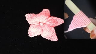 Hand Knitting Woolen Flower Making Tricks With Pop Stick, Super Easy Wool Flower Making Tricks