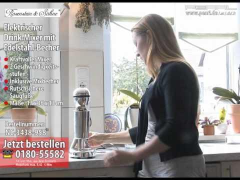 Rosenstein & Söhne Elektr. Drink-Mixer & Edelstahlbecher (refurbished)