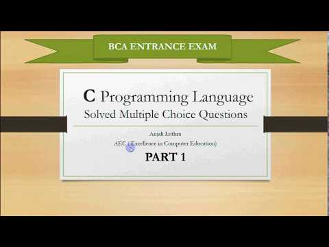 Multiple Choice Questions for C Programming Part 1  BCA Entrance ...