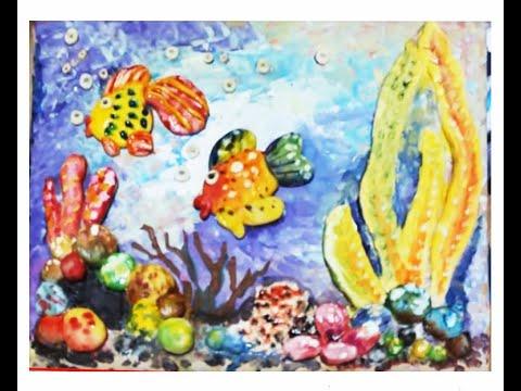 """Поделки из соленого теста  своими руками. Панно """"Золотая рыбка"""". Видео урок для детей 4,5,6,7,8 лет."""