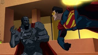 Four Superman's Fight at Lexcorp | Reign of the Supermen
