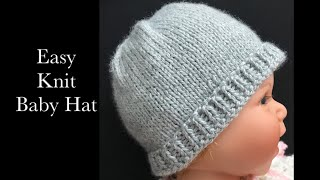 Easy Knit Baby Hat for NB to 12 months, Magic Loop method, Easy Knit Baby Hats, Knitting for Baby