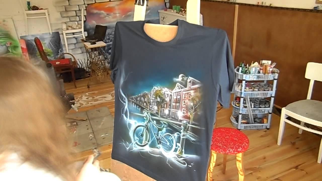 Аэрография на футболке Амстердам. Велосипед.