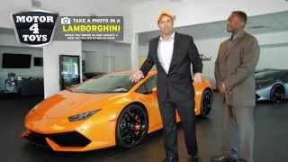 Take a photo in a Lamborghini! Bring an new Toy worth $10+