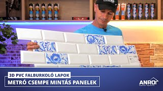 Metro csempe utánzatú 3D PVC falburkoló panel (17 modern mintával)