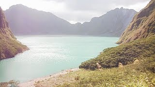 Volcano Mt. Pinatubo, Video from view point to crater lake