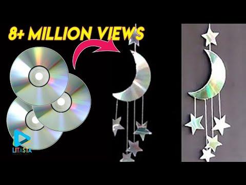 , title : 'Ide kreatif membuat hiasan bulan 🌙 dan bintang ⭐dari CD bekas | DIY ROOM DECOR'