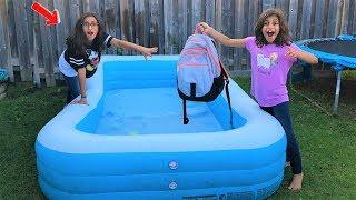 Kids SCHOOL BACKPACK IN THE SWIMMING POOL PRANK!! funny video