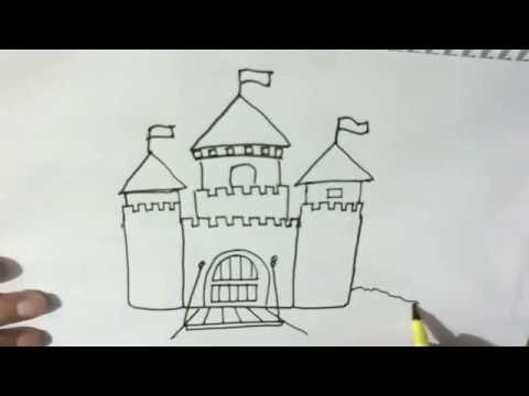 How to draw a Castle  - in easy steps for children, kids, beginners Step by step