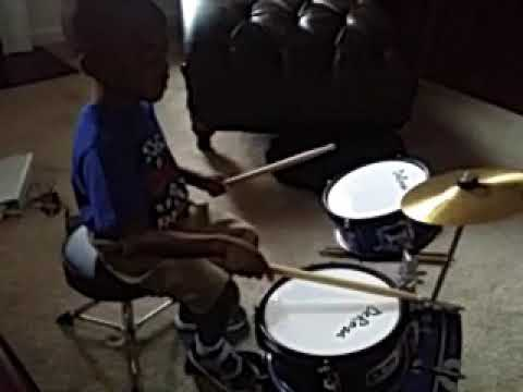 Christian heard me play this beat but he struggled at first.  I challenged him to close his eyes and listen to his playing.
