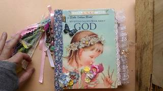 *Sold* Little Golden Book about God, Baby girl baby book junk journal, Pam's Paper Place
