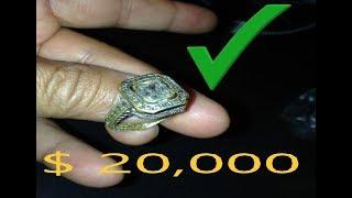 i FOUND $20,000 DOLLARS GOLD RING DIAMONDS EMERAL???  metal detecting