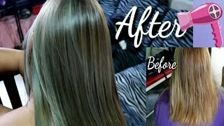 DIY BRAZILIAN BLOWOUT + Hair Coloring ✨