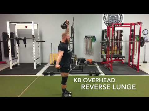 One-Arm Kettlebell Overhead Alternating Lunge