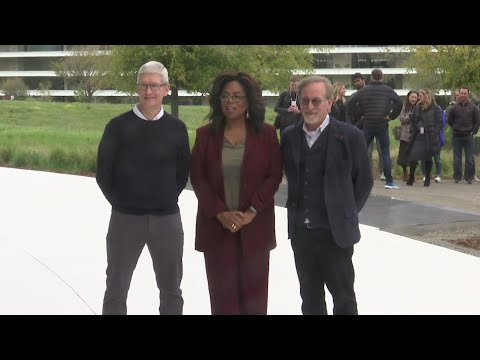 Apple trotted out few details on its long-awaiting streaming service on Monday, but it didn't skimp on high-wattage celebrity. Oprah Winfrey, Steven Spielberg and J.J. Abrams were a part of a parade of A-listers who took the stage  at Apple headquarters. (March 25)