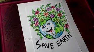 How To Draw Save Earth / Save Environment Poster Drawing For Kids