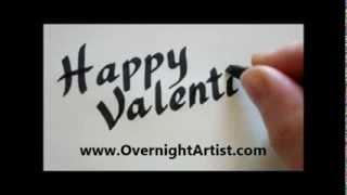 Valentine's day cards ideas write happy valentine's day Fancy calligraphy