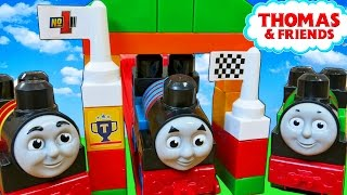 THOMAS AND FRIENDS MEGA BLOKS RACING JAMES PERCY TODDLER TOY WAGON RACE TRACK BUILDING BLOCKS