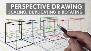 PERSPECTIVE DRAWING Techniques You NEED To KNOW - Grids, Scaling, Duplicating & Rotating