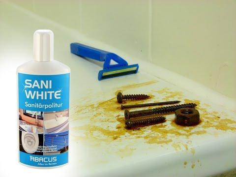 SANI WHITE & POWERSCHWAMM - Sanitärpolitur mit Abperleffekt - Rostlöser und Sanitärreiniger