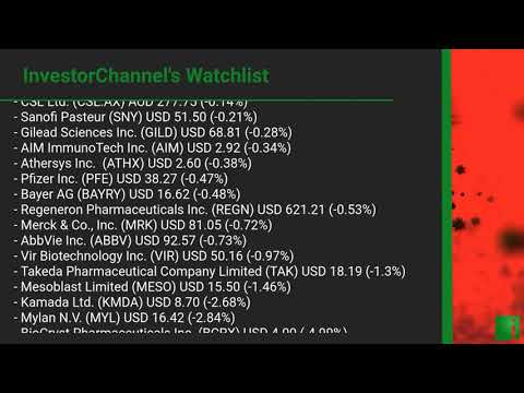 InvestorChannel's Covid-19 Watchlist Update for Thursday, August 06, 2020, 16:30 EST