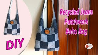DIY RECYCLED JEANS PATCHWORK BOHO BAG | JEANS TOTE BAG | PATCHWORK BAG |  DIY BAG SEWING TUTORIAL