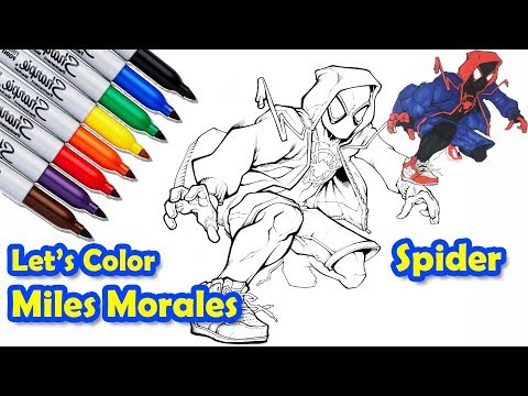 How To Draw And Coloring Miles Morales Spider Verse Step By Step