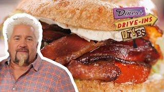 Guy Fieri Tries An Off-the-Hook Bagel BLT Sandwich (from #DDD)   Food Network