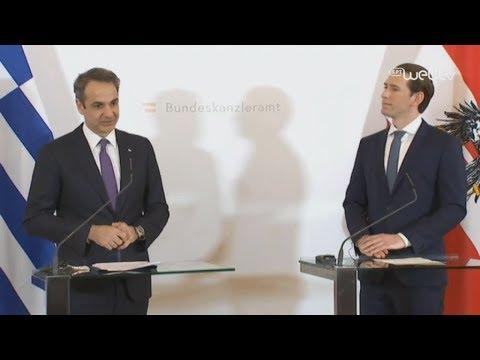 Κοινές δηλώσεις του Πρωθυπουργού Κυριάκου Μητσοτάκη με τον Καγκελάριο της Αυστρίας Σεμπάστιαν Κουρτς