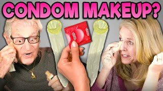 ELDERS REACT TO APPLYING MAKEUP WITH A CONDOM (Condom Makeup)