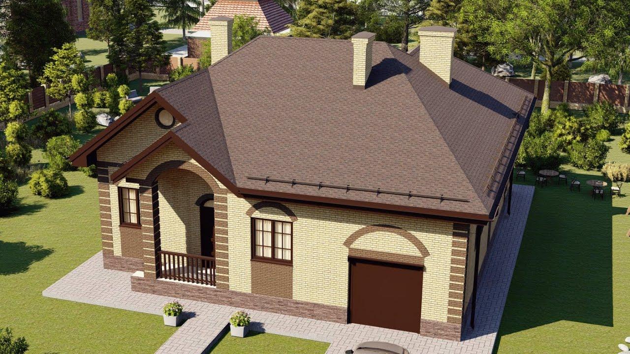 Проект большого одноэтажного дома из газобетона для постоянного проживания