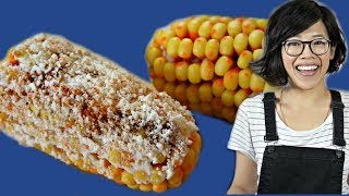 CANDY CORN Elotes - DIY cob of candy corn slathered in mayo, butter & cheese