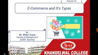 Tutorial on E-Commerce and It's Types by Mr. Mukul Gupta for BBA, B.Com and MBA Students