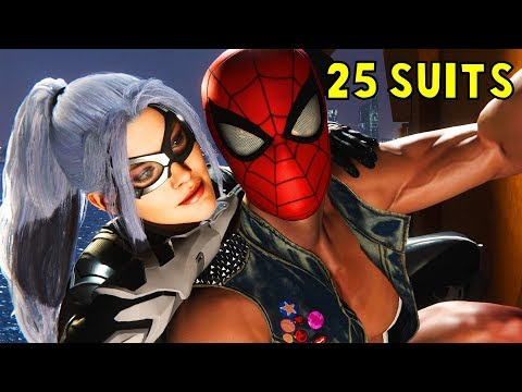 All Black Cat Cut Scenes in 25 Different Suits -The Heist DLC- Spider-Man PS4