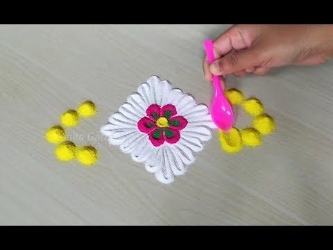 Very easy and simple rangoli design for rakshabandhan   Everyday rangoli