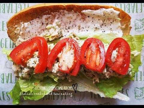 VLOG - VEGAN CHICKON SALAD -  MADE WITH SHREDDED CHICKON RECIPE     Connie's RAWsome kitchen
