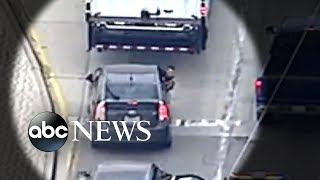 A car chase between police and an accused murderer ended in a shootout in Los Angeles